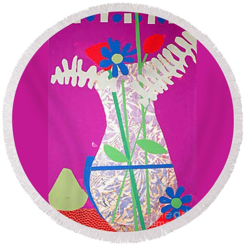 Still Life Round Beach Towel featuring the mixed media Yvie's Flower Vase by Debra Bretton Robinson