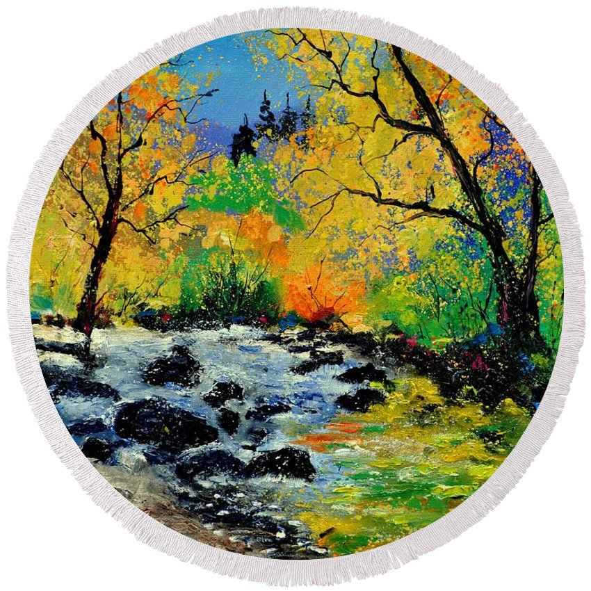 Landscape Round Beach Towel featuring the painting Ywoigne 67 by Pol Ledent