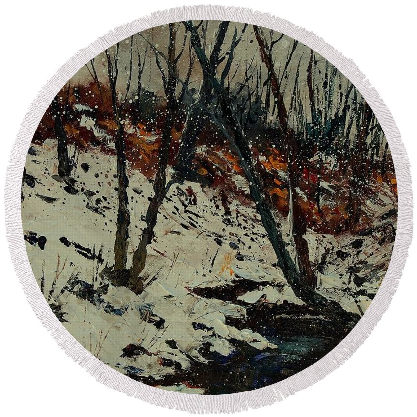 Winter Round Beach Towel featuring the painting Ywoigne Snow by Pol Ledent