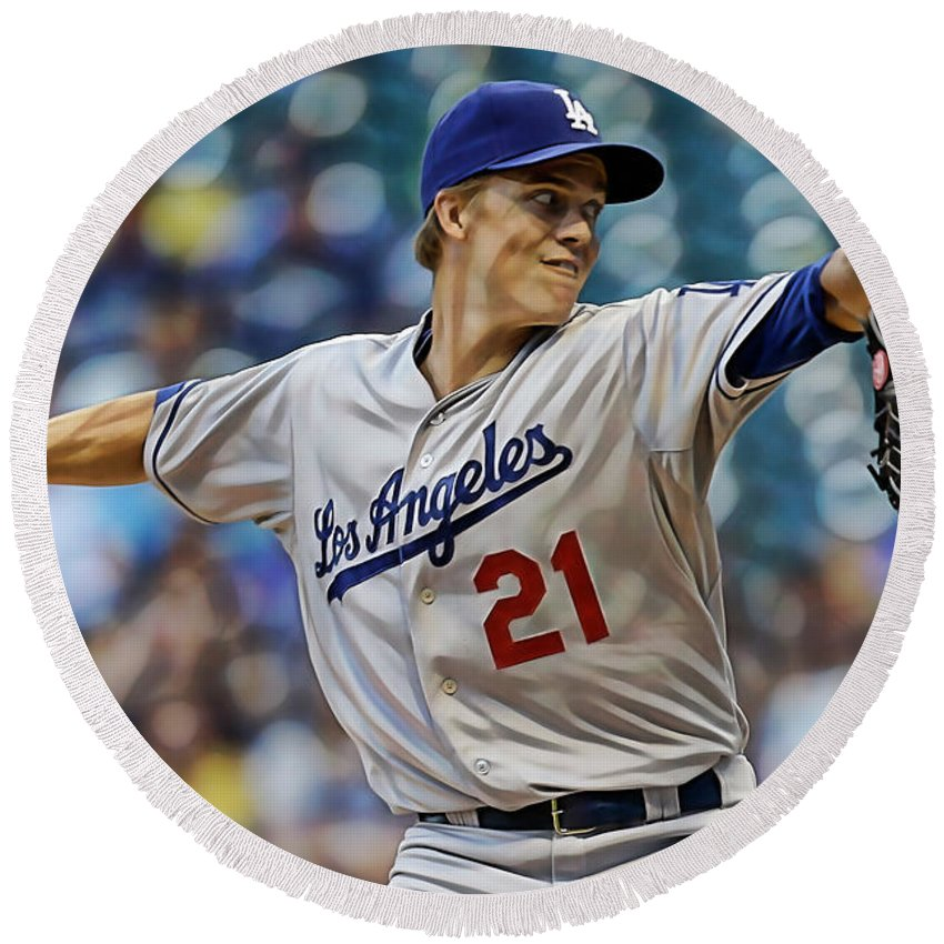 Zack Greinke Round Beach Towel featuring the mixed media Zack Greinke Los Angeles Dodgers by Marvin Blaine