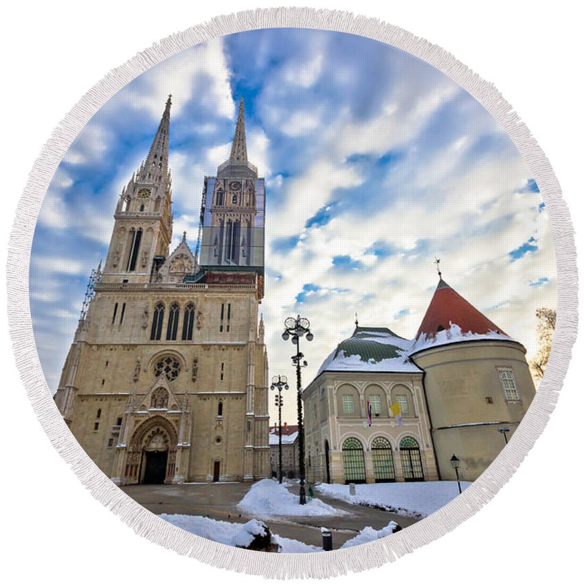 Zagreb Round Beach Towel featuring the photograph Zagreb Cathedral Winter Daytime View by Brch Photography
