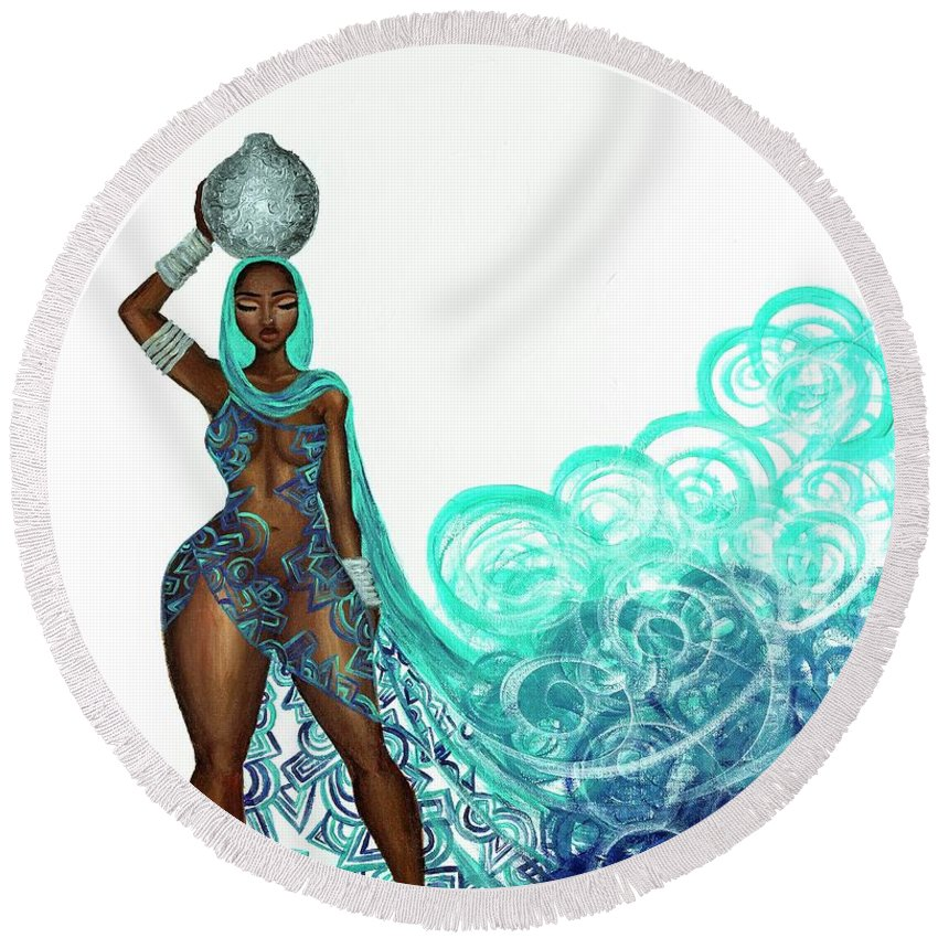 Round Beach Towel featuring the painting Zahirah by Miarri Glass