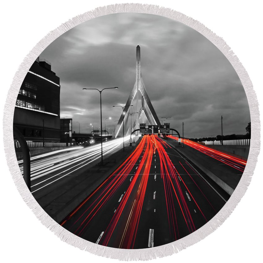 Boston Round Beach Towel featuring the photograph Zakim Bridge And Td Garden Boston Ma Red Tail Lights by Toby McGuire