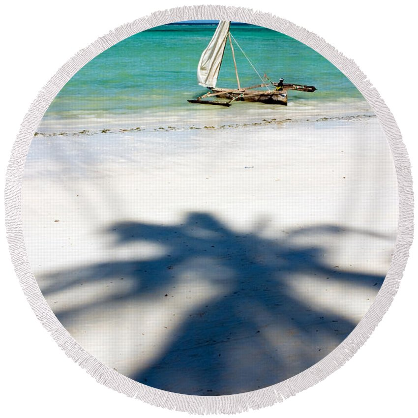 3scape Round Beach Towel featuring the photograph Zanzibar Beach by Adam Romanowicz