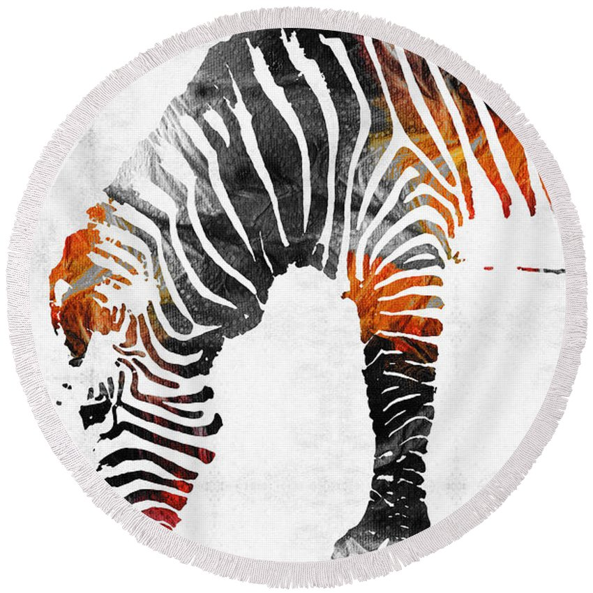 Zebra Round Beach Towel featuring the painting Zebra Black White And Red Orange By Sharon Cummings by Sharon Cummings
