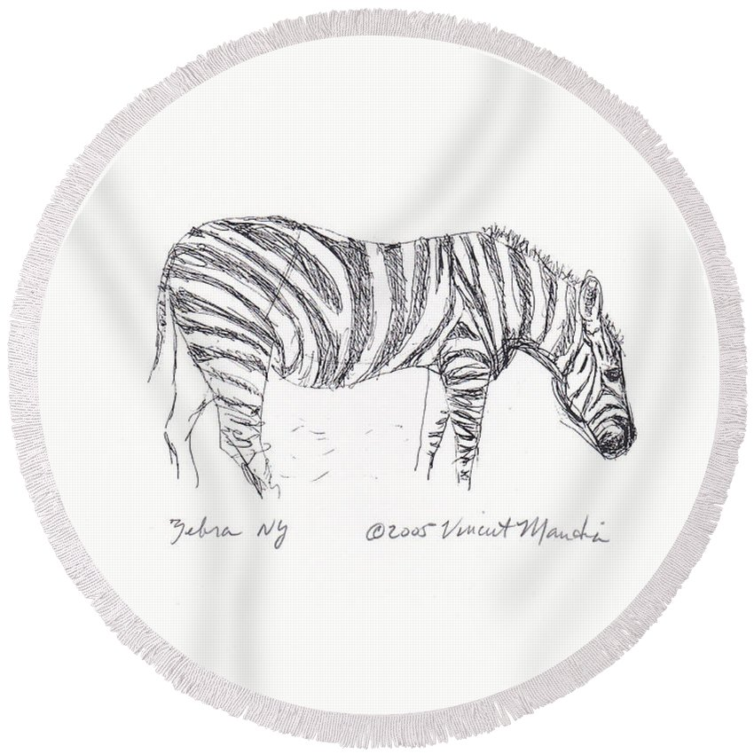 Pen Round Beach Towel featuring the drawing Zebra Drawing by Vincent Mantia