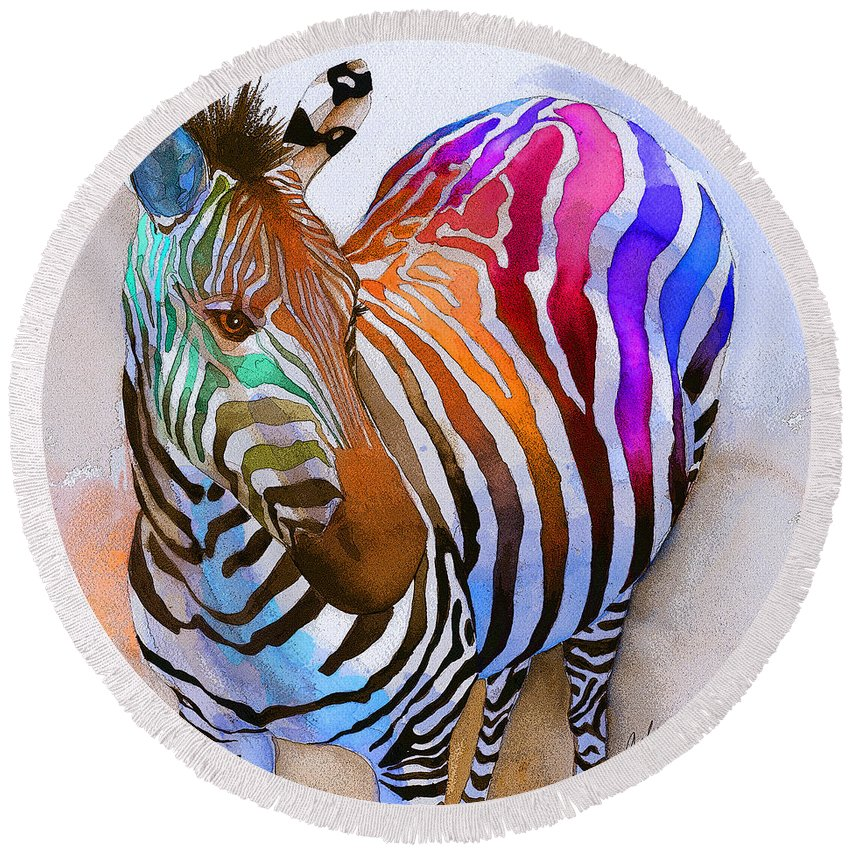 Colorful Round Beach Towel featuring the painting Zebra Dreams by Galen Hazelhofer