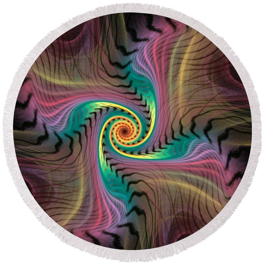Spiral Round Beach Towel featuring the digital art Zebra Spiral Affect by Deborah Benoit