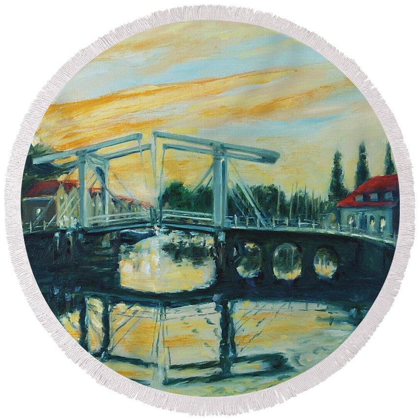 Bridge Round Beach Towel featuring the painting Zeeland by Rick Nederlof