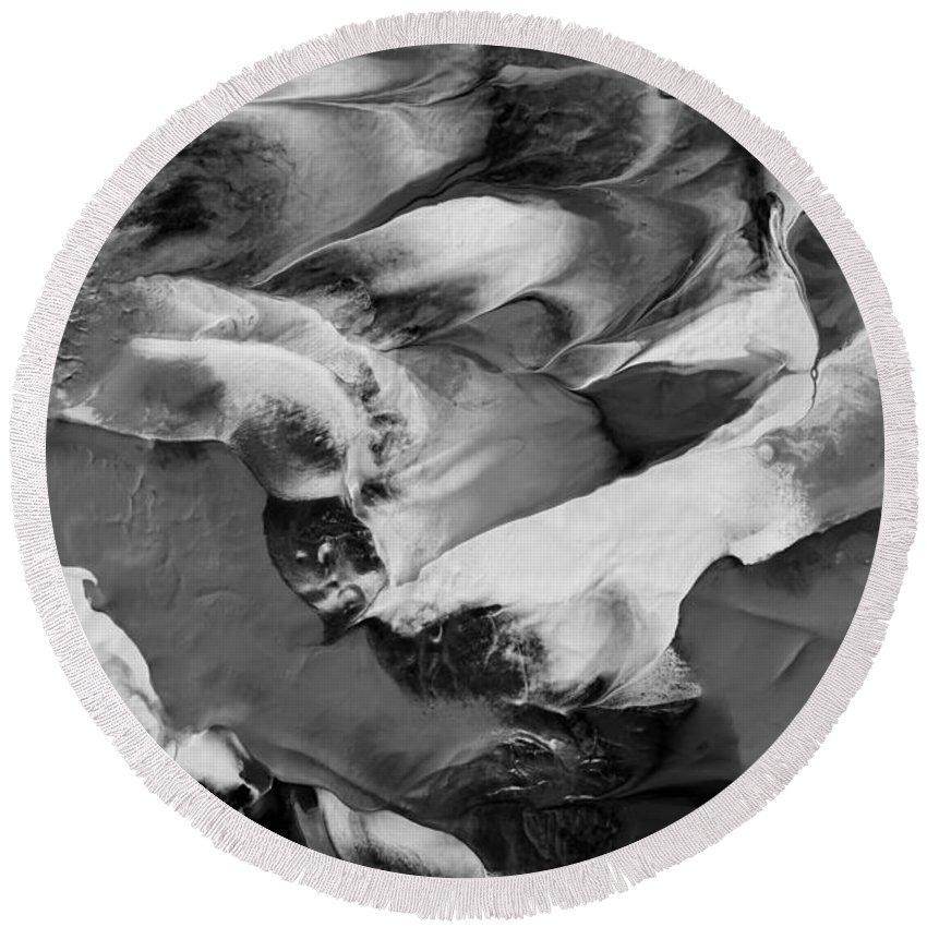 Masartstudio Round Beach Towel featuring the painting Zen Abstract Series N1015al by Mas Art Studio