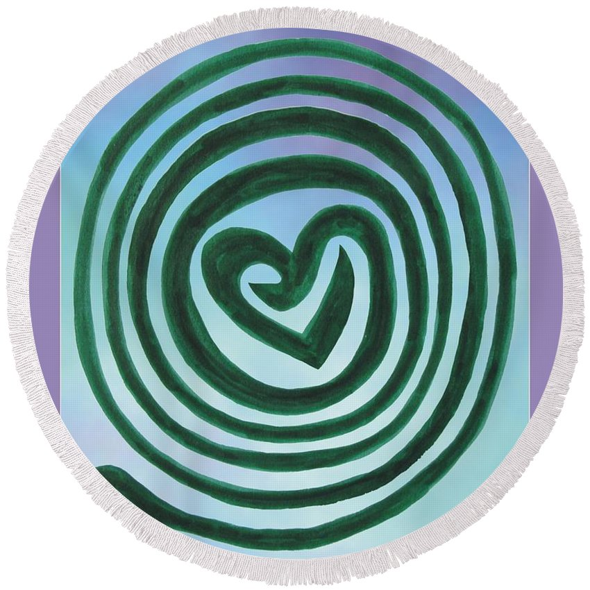 Labyrinth Round Beach Towel featuring the photograph Zen Heart Labyrinth Sky by Marlene Rose Besso