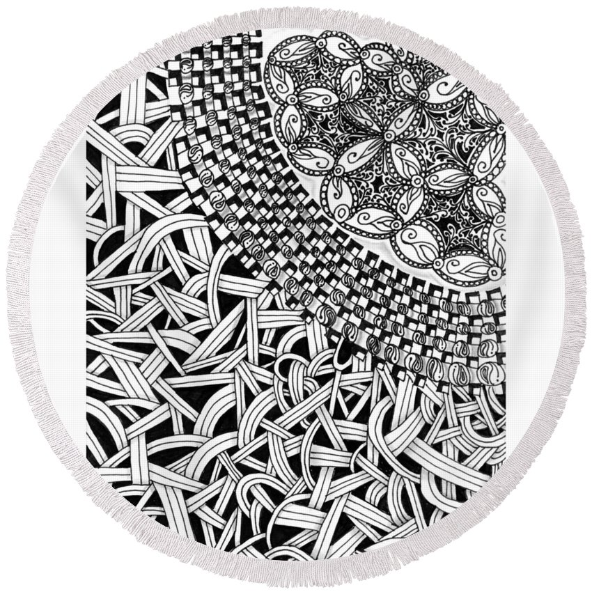 Abstract Round Beach Towel featuring the drawing Zentangle Inspired Design by Eric Strickland