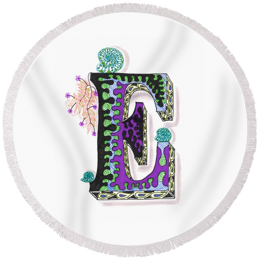 Zentangle Round Beach Towel featuring the drawing Zentangle Inspired E #4 by Eric Strickland