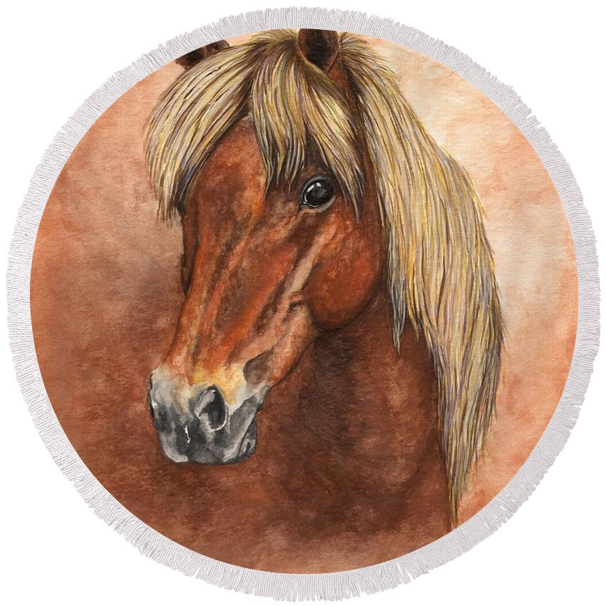 Pony Round Beach Towel featuring the painting Ziggy by Kristen Wesch
