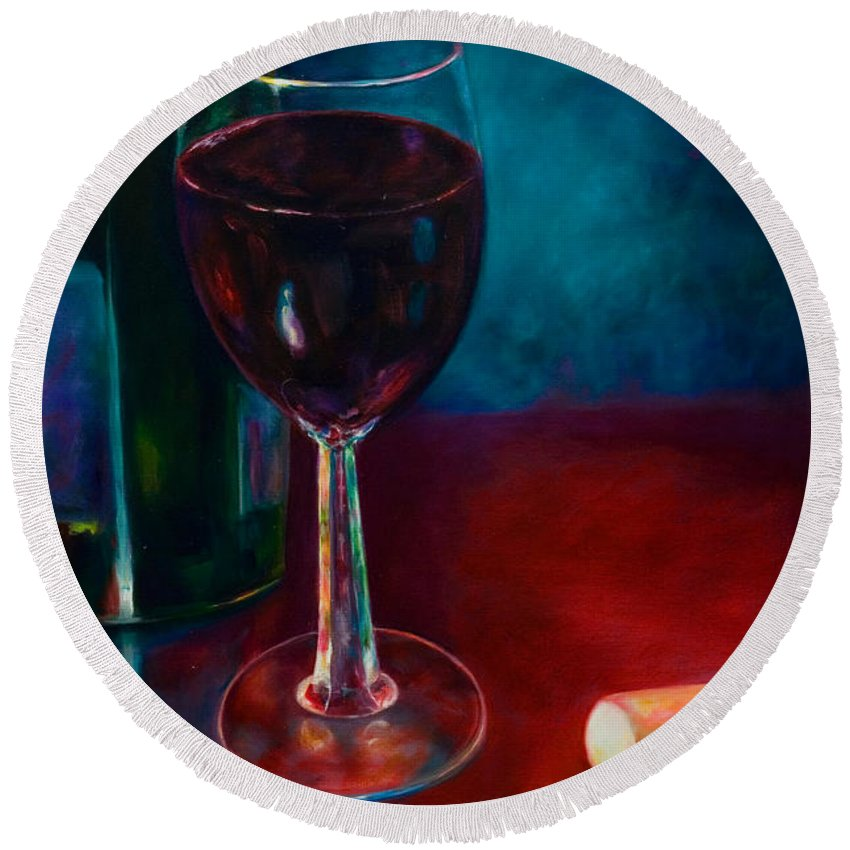 Wine Bottle Round Beach Towel featuring the painting Zinfandel by Shannon Grissom