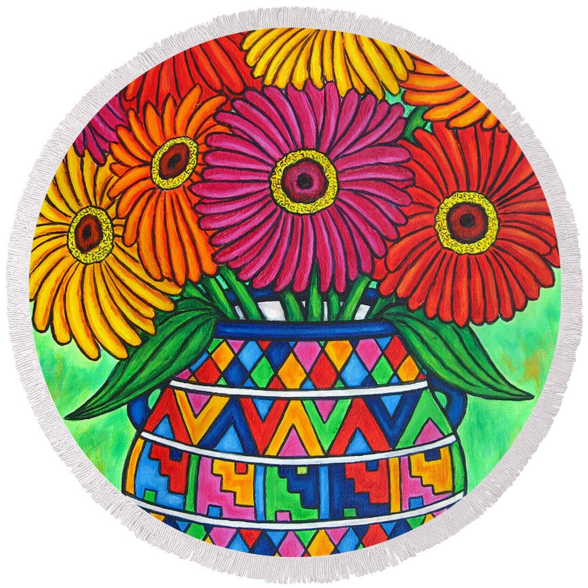 Zinnia Round Beach Towel featuring the painting Zinnia Fiesta by Lisa Lorenz
