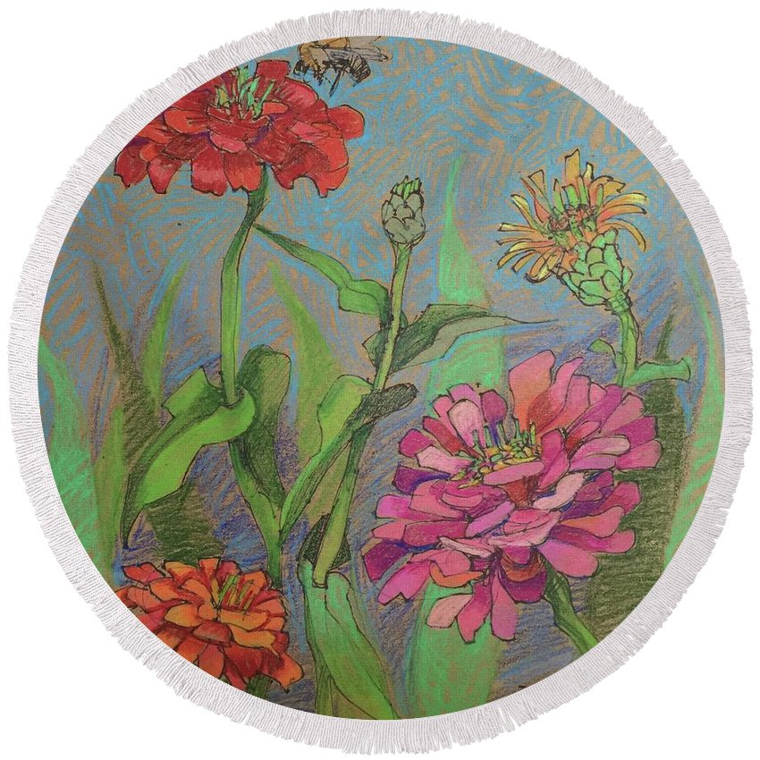 Prismacolor Round Beach Towel featuring the drawing Zinnias With Bee by Annie Scheumbauer