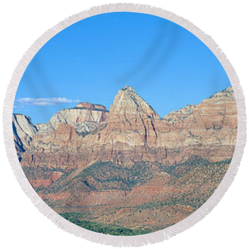 Photography Round Beach Towel featuring the photograph Zion National Park, Valley View by Panoramic Images