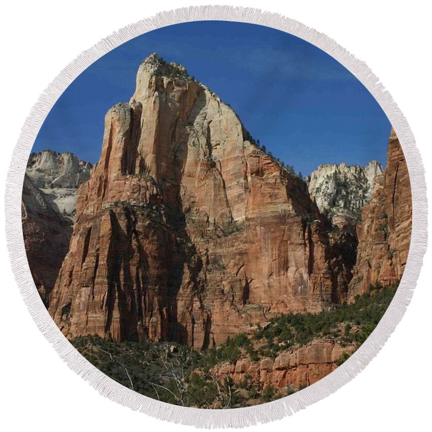 Zion Round Beach Towel featuring the photograph Zion's Patriarchs by Nelson Strong