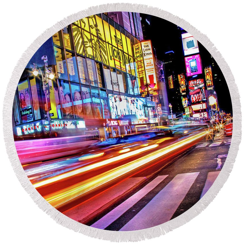 Times Square Round Beach Towel featuring the photograph Zip by Az Jackson