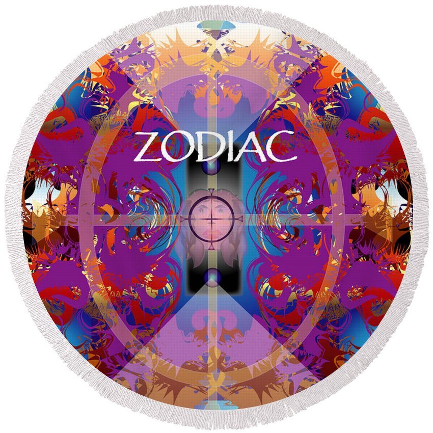 Abstaract Round Beach Towel featuring the digital art Zodiac 2 by George Pasini