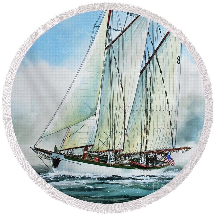Tall Ship Print Round Beach Towel featuring the painting Zodiac by James Williamson