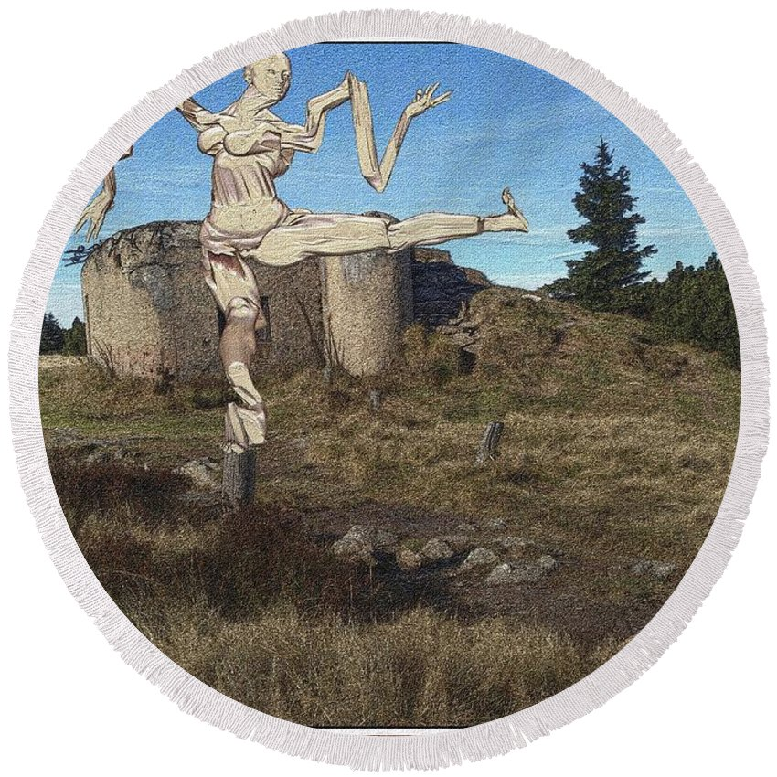 Modern Painting Round Beach Towel featuring the mixed media Zombie Near The Ruins by Pemaro