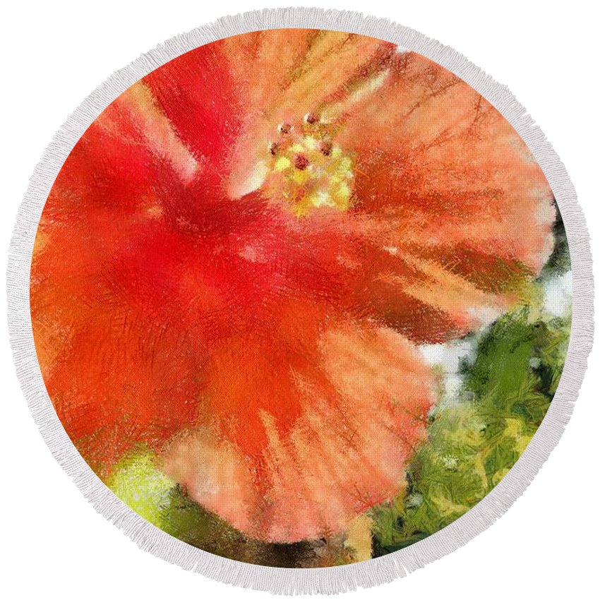 Zoo Round Beach Towel featuring the painting Zoo Flower by Jeffrey Kolker