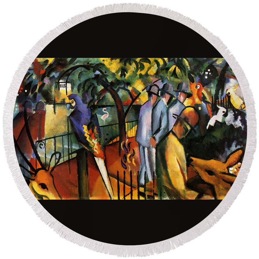 August Macke Round Beach Towel featuring the painting Zoological Garden by August Macke