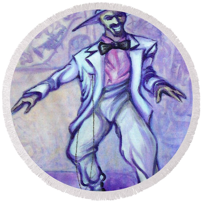 Zoot Suit Round Beach Towel featuring the painting Zoot Suit by Kevin Middleton