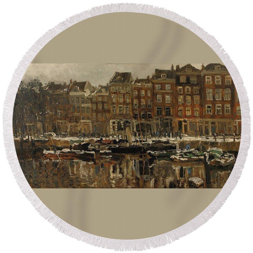Johan Hendrik Van Mastenbroek (1875-1945) Zuidblaak Te Rotterdam Round Beach Towel featuring the painting Zuidblaak Te Rotterdam by MotionAge Designs