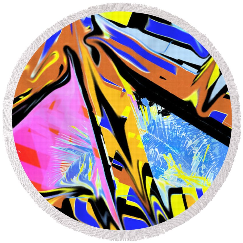Abstract Round Beach Towel featuring the digital art Zulu by Ian MacDonald