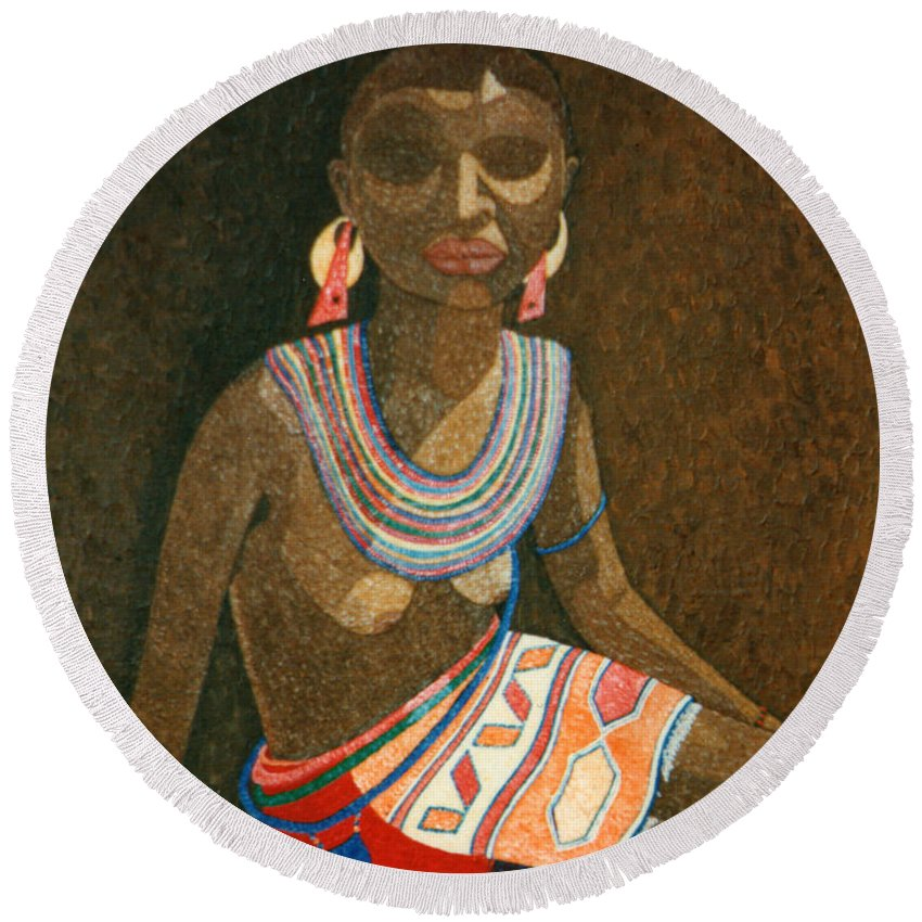 Zulu Woman Round Beach Towel featuring the painting Zulu Woman With Beads by Madalena Lobao-Tello
