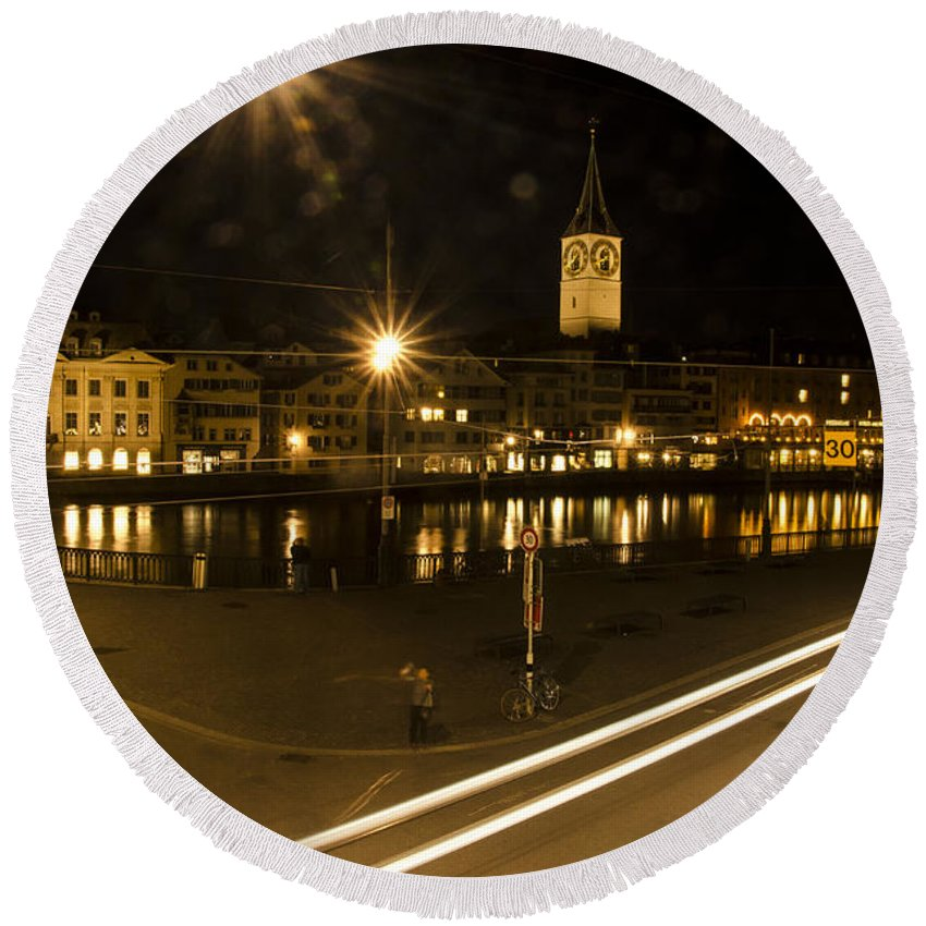Zurich Round Beach Towel featuring the photograph Zurich At Night by Erik Burg