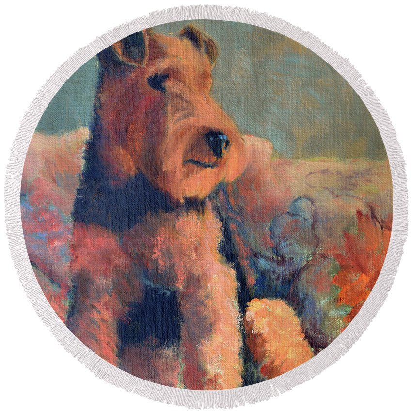 Pet Round Beach Towel featuring the painting Zuzu by Keith Burgess