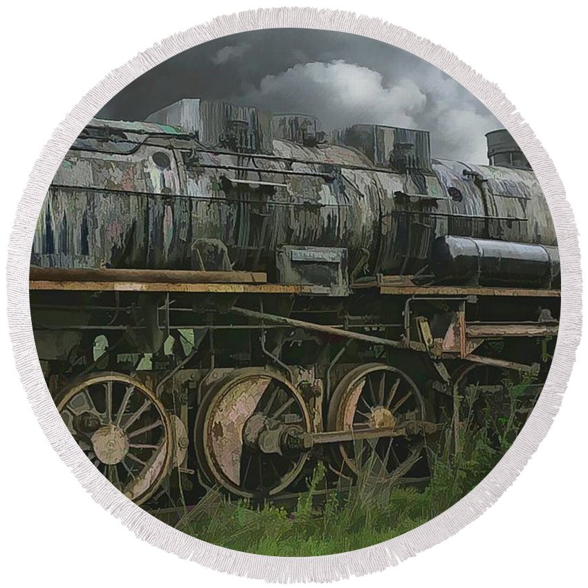 Abstract Round Beach Towel featuring the photograph Abandoned Steam Locomotive by Robert Kinser