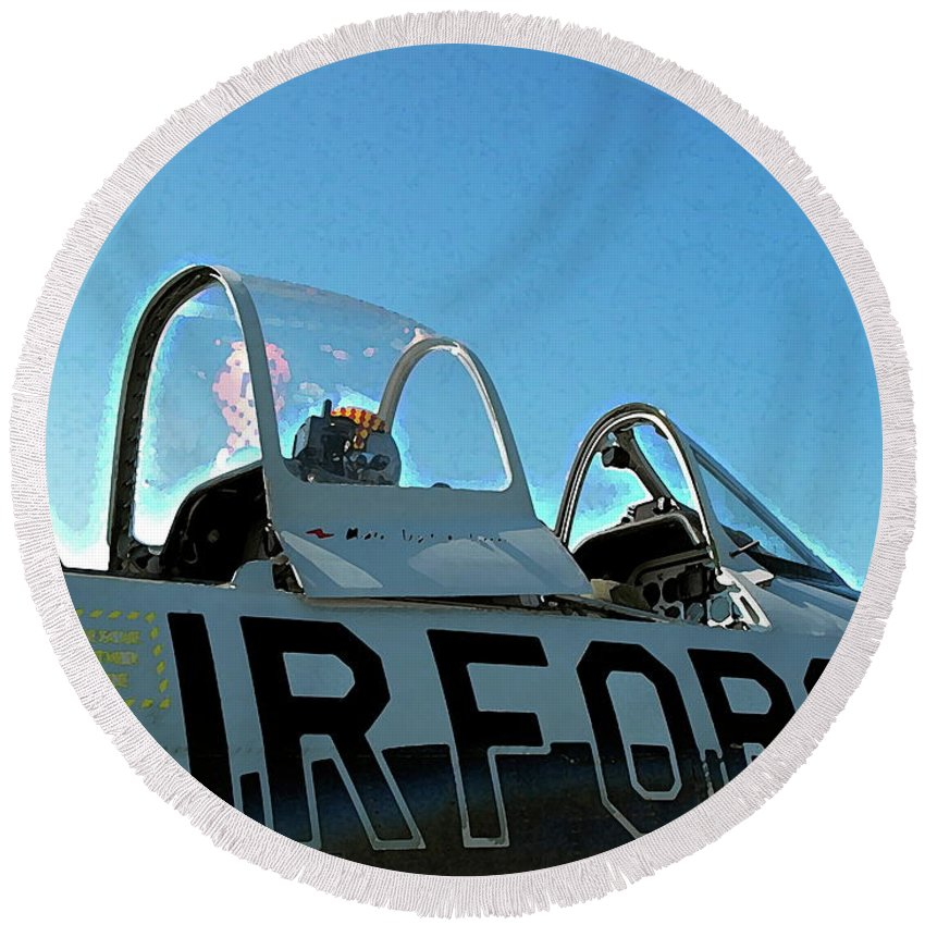 Round Beach Towel featuring the photograph Air Force by Anthony Pelosi