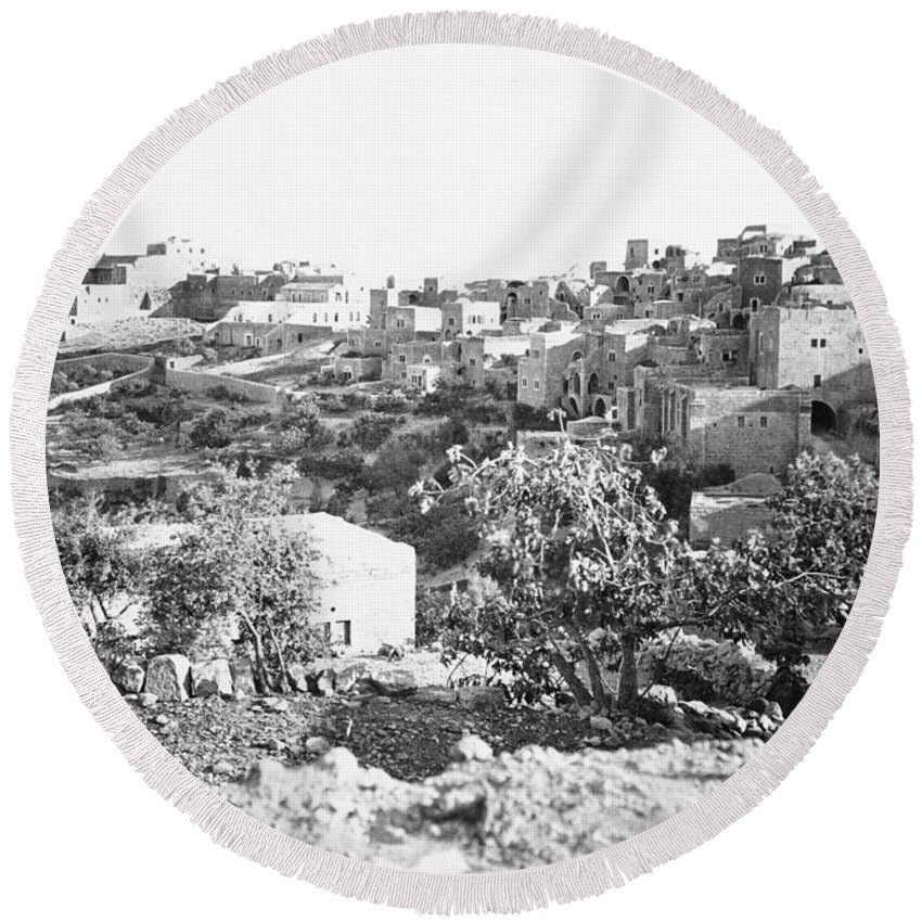 Tancrède Dumas Round Beach Towel featuring the photograph Bethlehem 19th Century by Munir Alawi