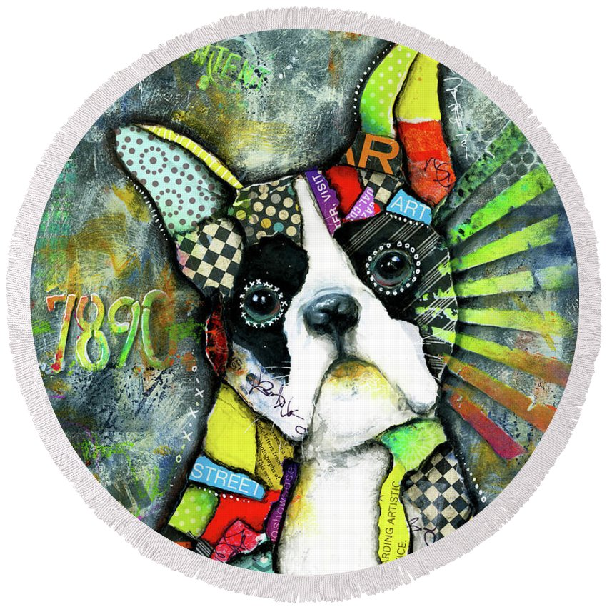 Boston Terrier Round Beach Towel featuring the mixed media Boston Terrier by Patricia Lintner