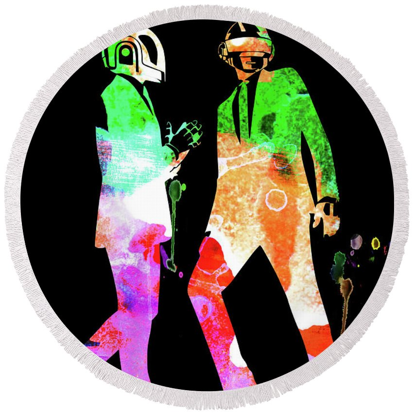 Daft Punk Round Beach Towel featuring the mixed media Daft Punk Watercolor 1 by Naxart Studio
