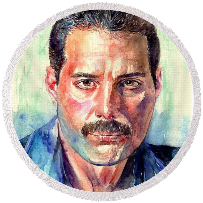 Freddie Round Beach Towel featuring the painting Freddie Mercury Painting by Suzann Sines