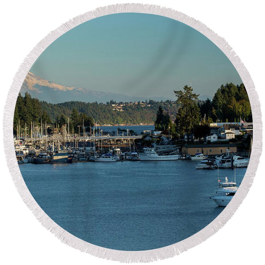 Gig Harbor Marina With Mount Rainier In The Background Round Beach Towel featuring the photograph Gig Harbor Marina With Mount Rainier In The Background by Yefim Bam