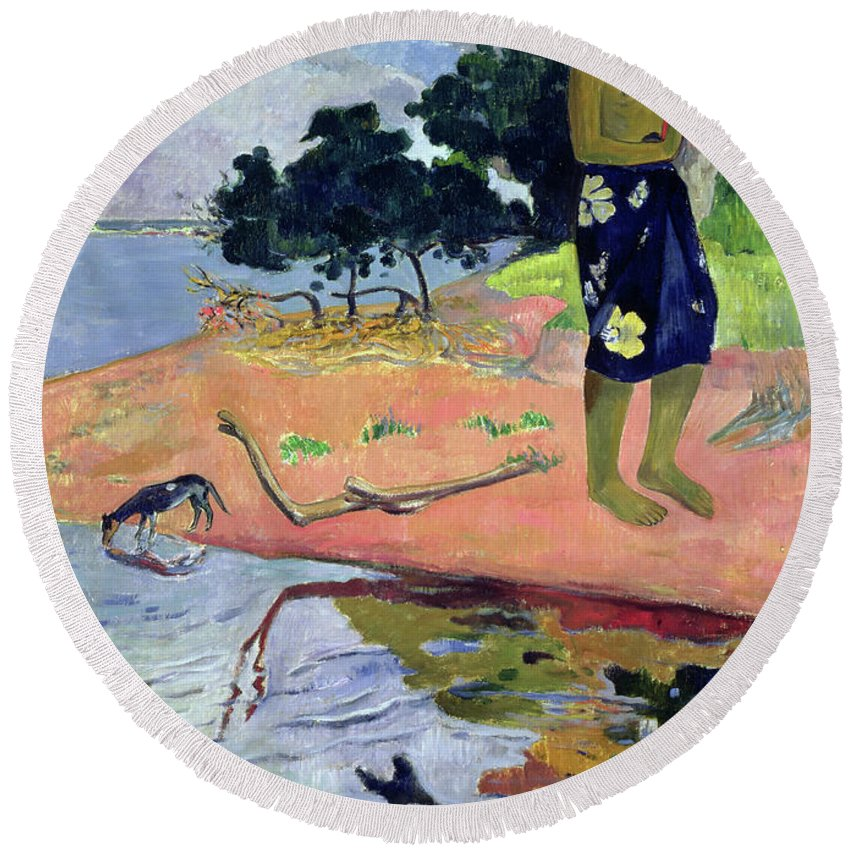 Gauguin Round Beach Towel featuring the painting Haere Pape, 1892 by Paul Gauguin
