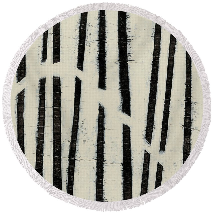Abstract Round Beach Towel featuring the painting Hieroglyph Vi by June Erica Vess