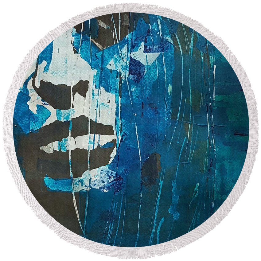 Women Round Beach Towel featuring the painting I'll Never Fall In Love Again by Paul Lovering