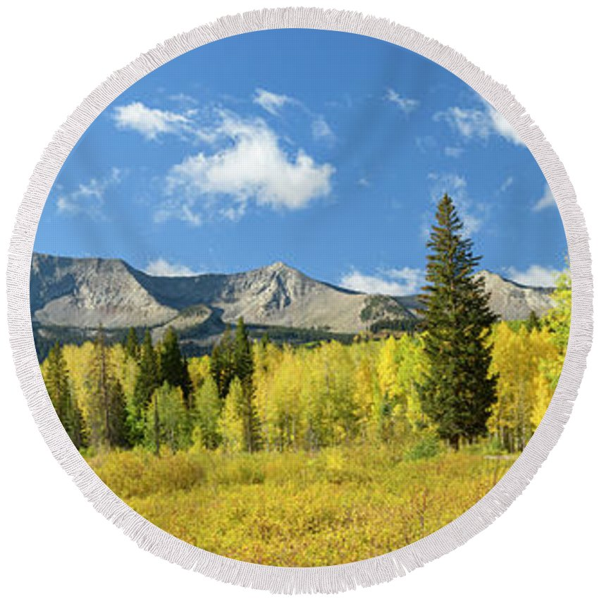 North America Round Beach Towel featuring the photograph Kebler Pass by Christian Heeb