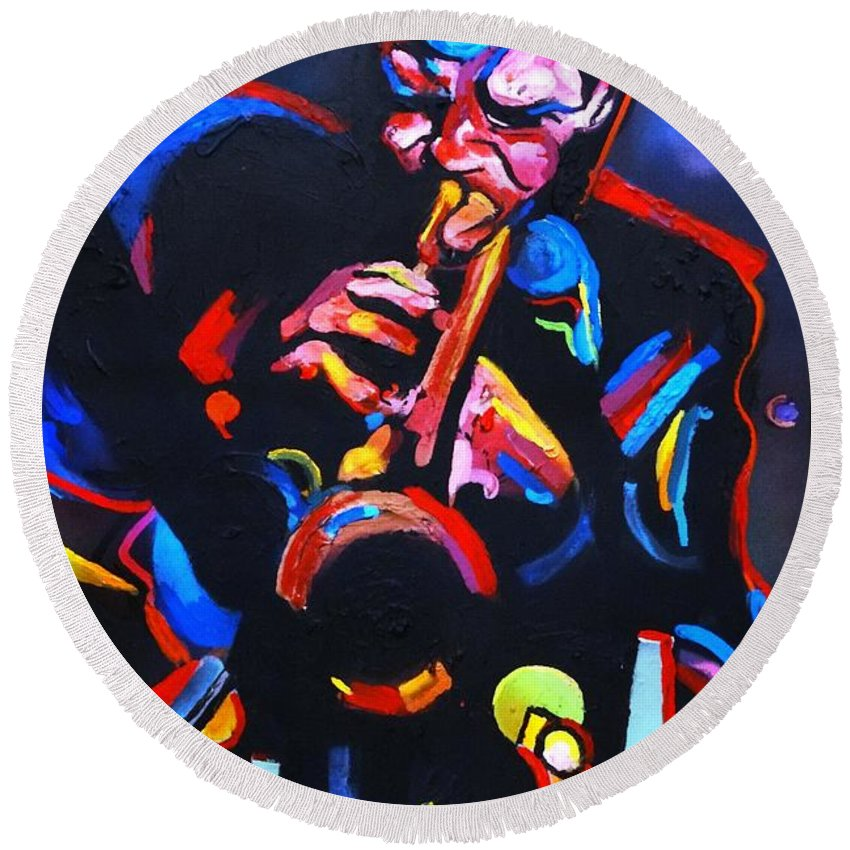 Chet Baker Round Beach Towel featuring the painting Life Back in Blue - Chet Baker by Eric Dee