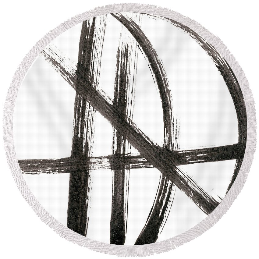 Abstract Round Beach Towel featuring the painting Linear Expression Viii by J. Holland