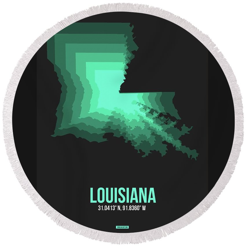 Louisiana Round Beach Towel featuring the digital art Map Of Louisiana by Naxart Studio