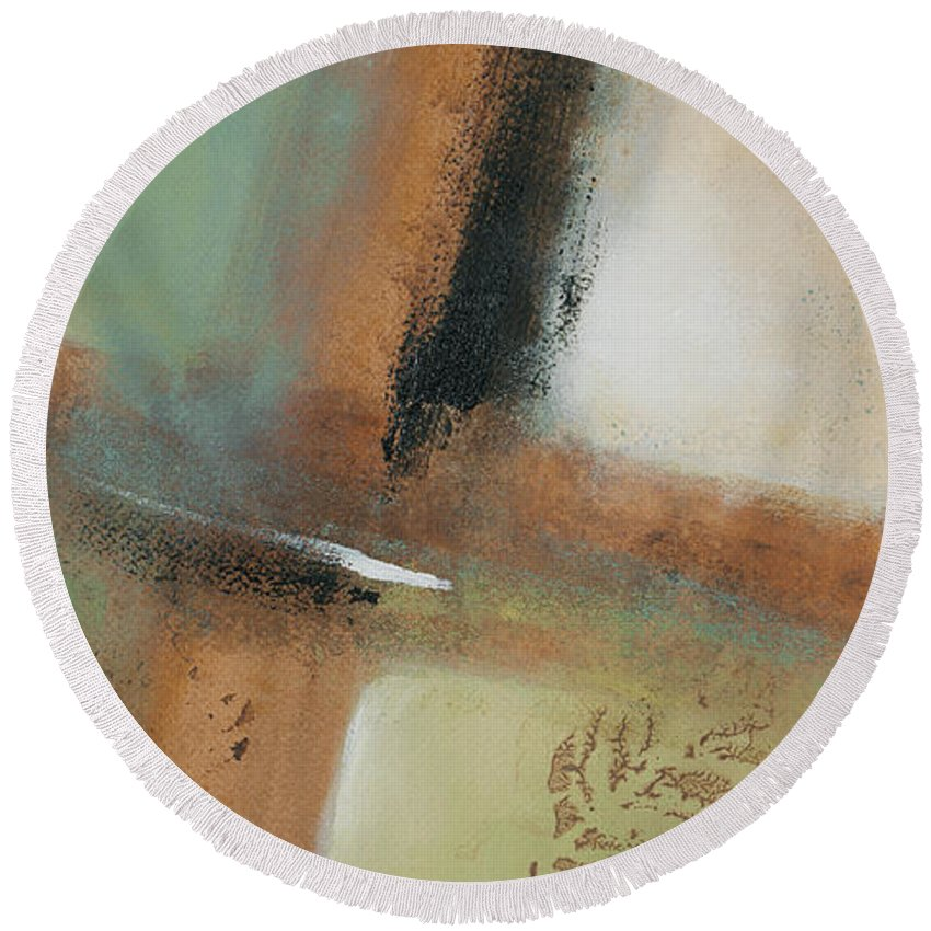 Abstract Round Beach Towel featuring the painting Misty Morning I by Lanie Loreth